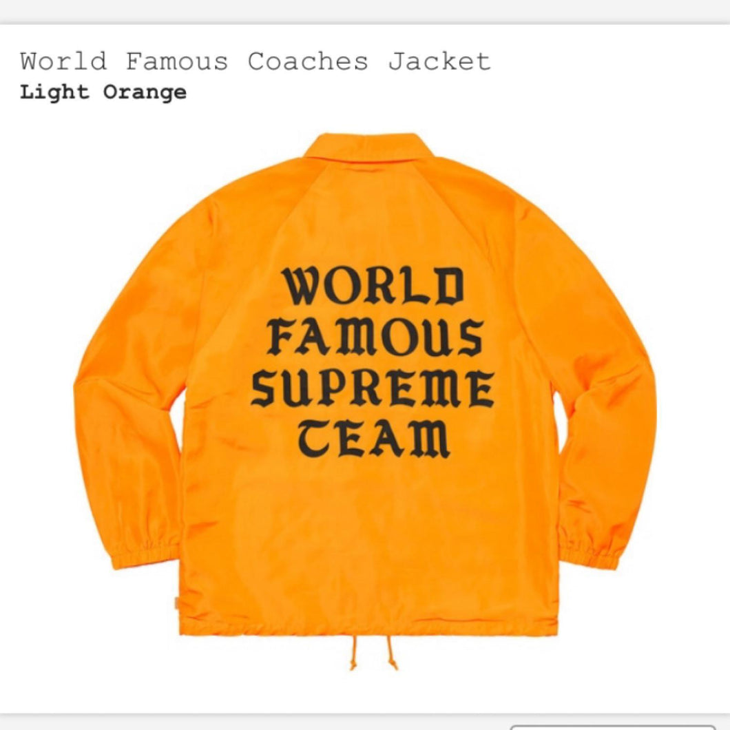 Supreme World Famous Coaches Jacket Light Orange