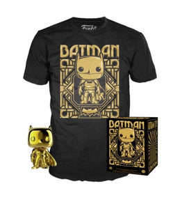 Gold Chrome Batman POP! with Gold Batman Tee (Large)
