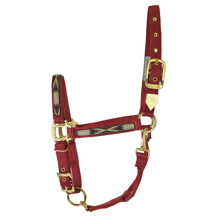 "1"" Deluxe Nylon Halters with Southwest Overlay, Adjustable Chin & Snap"