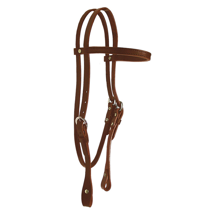 Leather Headstall Browband with Nickel Hardware - Headstall - Hamilton - Miracle Corp