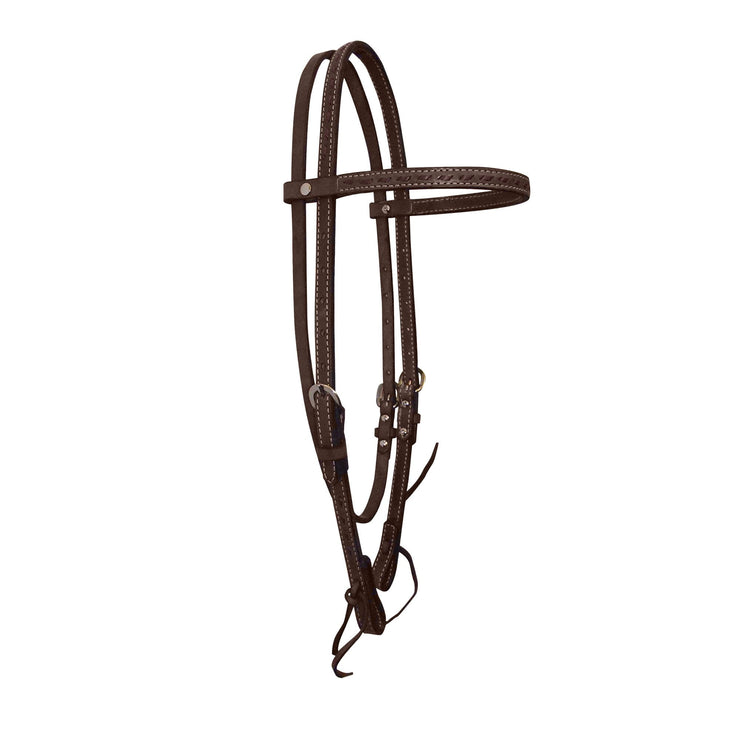 Buck Stitch Leather Headstall with Tie Bit Ends - Headstall - Hamilton - Miracle Corp