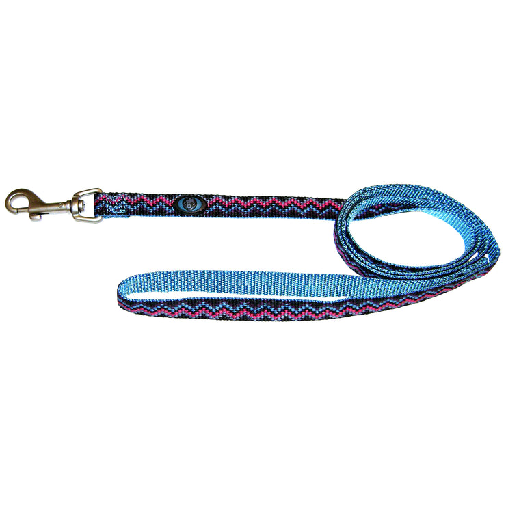 Single Thick 4' Weave Print Leashes with Brushed Nickel Finish