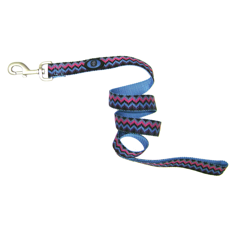 Single Thick 6' Weave Print Leashes with Brushed Nickel Finish