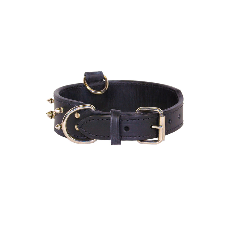Spike Leather Collar with Top D-Ring