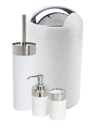 Athome 4 piece white chrome bathroom set
