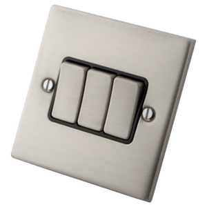 Stainless Steel Switch 3 Gang 2 Way