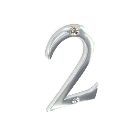 Chrome Door Numeral No.2 75mm