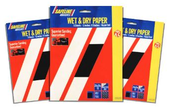 Wet & Dry Sand Paper 5 Sheets Assorted