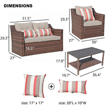 Load image into Gallery viewer, 4 Piece Rattan Conversation Set with Cushions