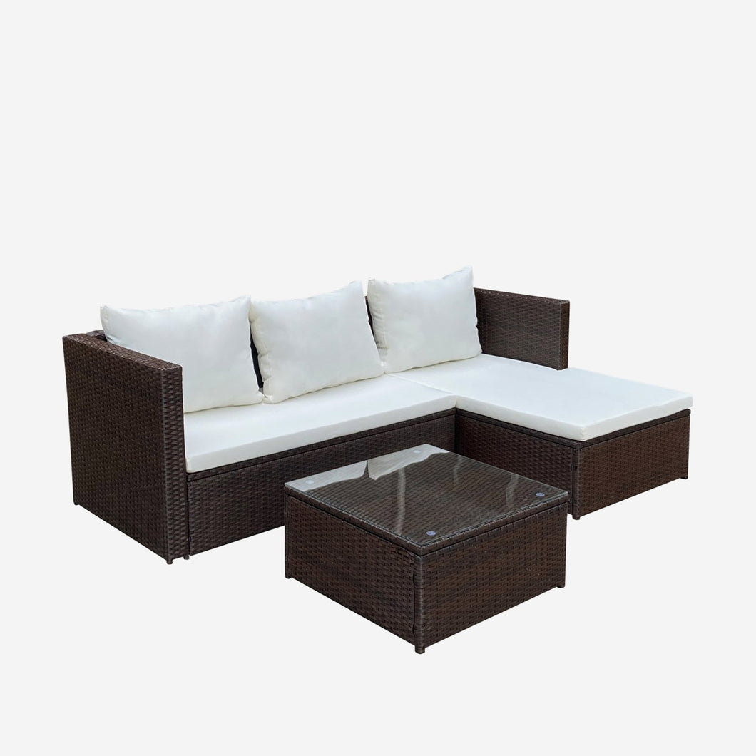 All-Weather 3 Piece Rattan Sectional Seating Group with Cushions