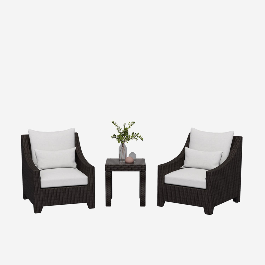 3 Piece Modern Outdoor Wicker Conversation Set with Cushions