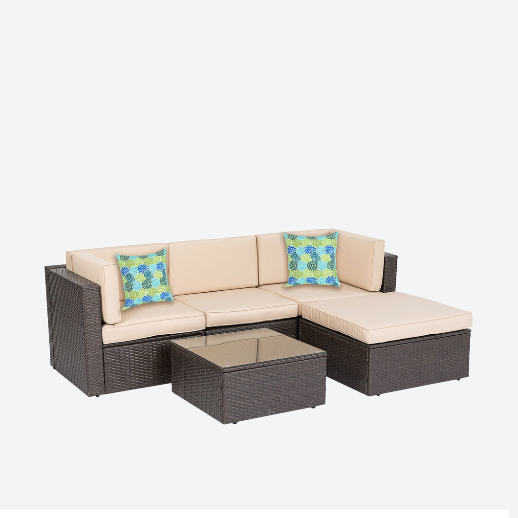 5 Piece Wicker Sectional Seating Group with Cushions