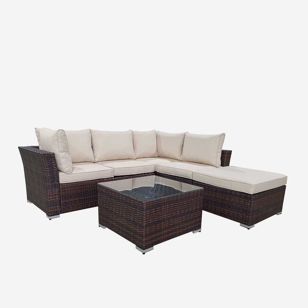 4 Piece Rattan Conversation Sectional Seating Group with Cushions, Brown Wicker