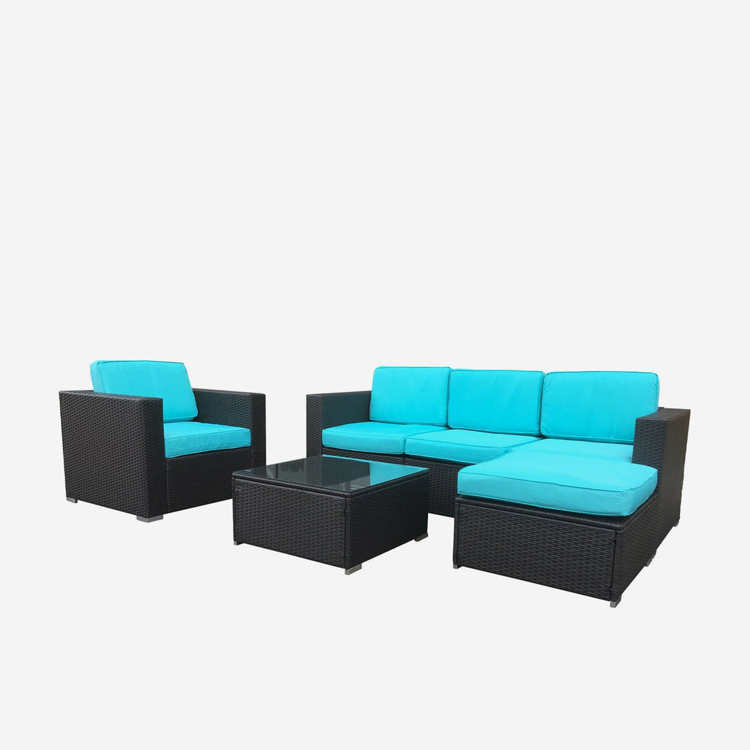 Sofa Seating Sectional Group with Blue Cushions, and Dark Brown Wicker