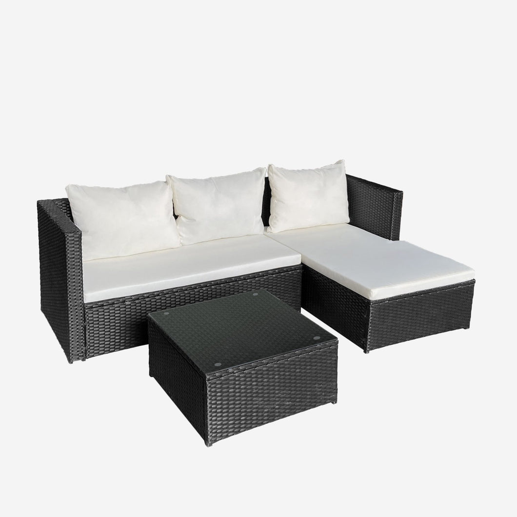 4 Piece All-Weather Patio Rattan Funiture Set Cushioned Sectional