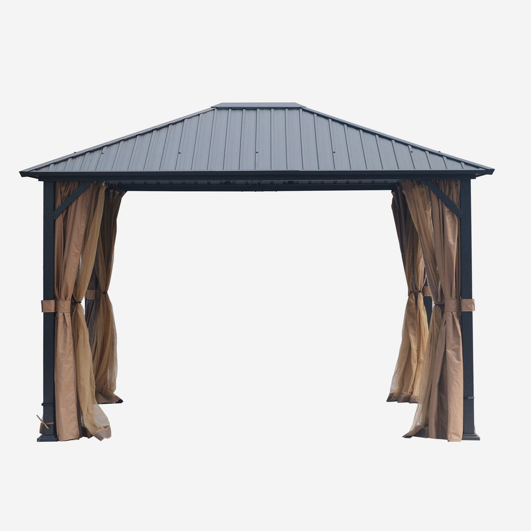 10 x 12 Hardtop Mental Gazebo with Mosquito Netting and Curtains