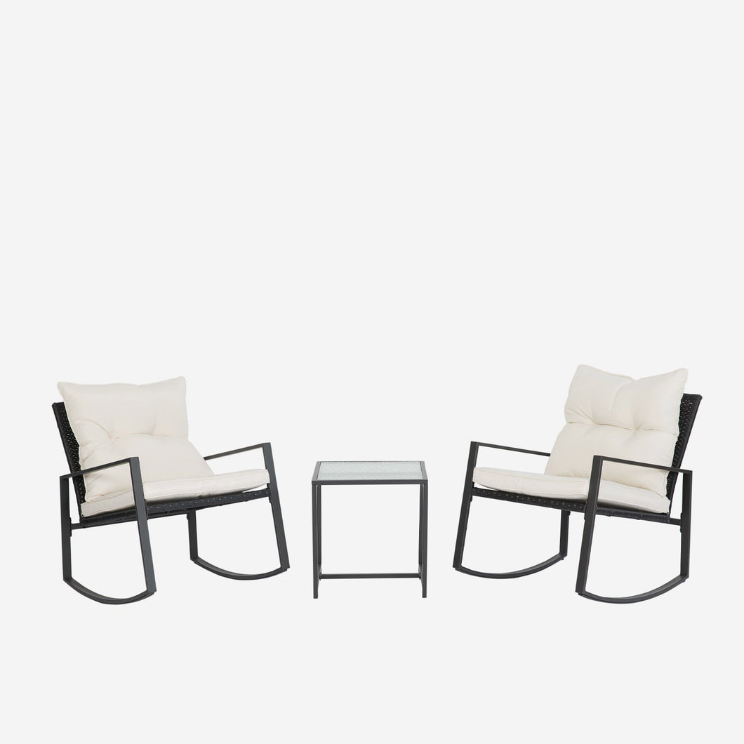 3 Piece Bistro Table Set Rocking Chair with Cushions