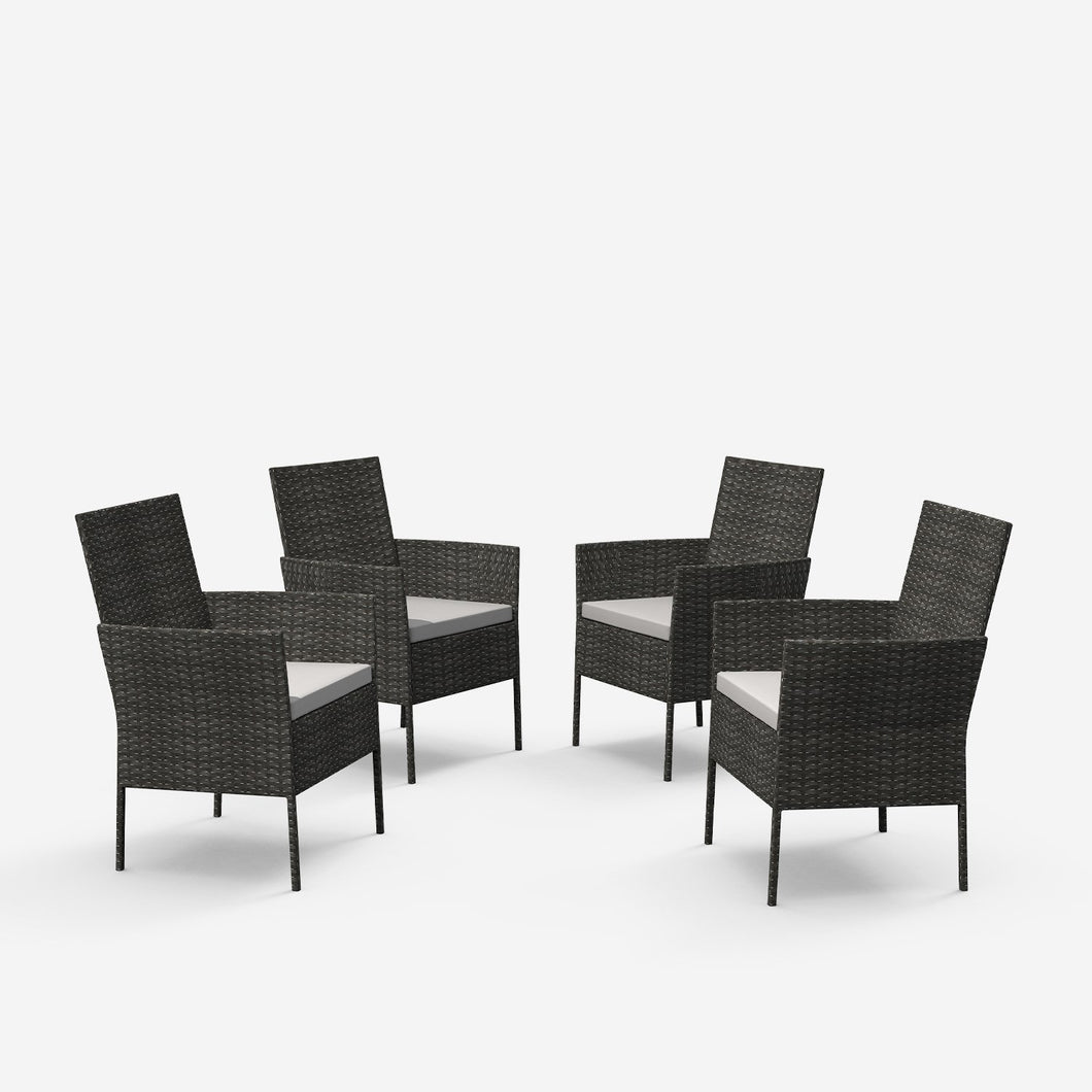 Outdoor Wicker Patio Chair with Cushions (Set of 4)