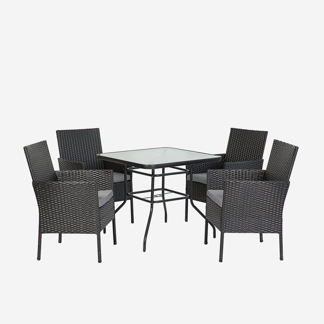 5 Piece Outdoor Dining Table Set with Cushions