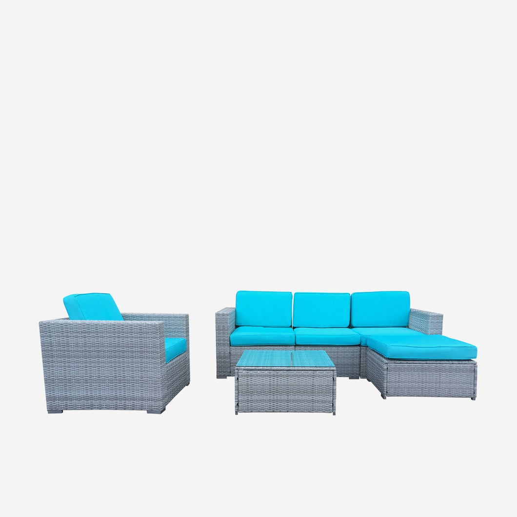 Sofa Seating Sectional Group with Blue Cushions, and Grey Wicker