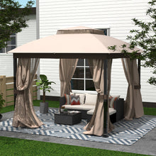 Load image into Gallery viewer, 10 x 10 Steel Patio Gazebo with Mosquito Netting Soft Top, Beige