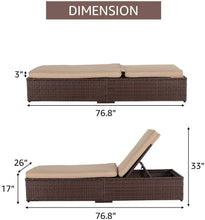 Load image into Gallery viewer, Outdoor Adjustable Patio Chaise Lounge with Cushion