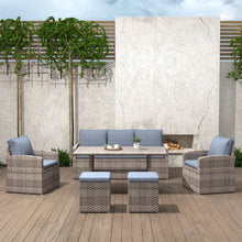 Load image into Gallery viewer, 6-Piece Wicker Outdoor Dining Table Set