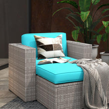 Load image into Gallery viewer, Sofa Seating Sectional Group with Blue Cushions, and Grey Wicker