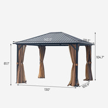 Load image into Gallery viewer, 10 x 12 Hardtop Mental Gazebo with Mosquito Netting and Curtains