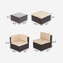 Load image into Gallery viewer, 5 Piece Wicker Sectional Seating Group with Cushions