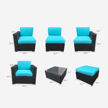 Load image into Gallery viewer, Sofa Seating Sectional Group with Blue Cushions, and Dark Brown Wicker