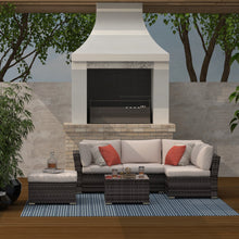 Load image into Gallery viewer, 4 Piece Rattan Conversation Sectional Seating Group with Cushions, Brown Wicker