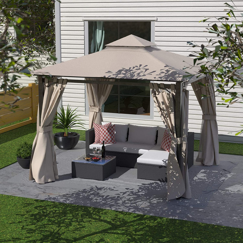 Cloud Mountain Garden Gazebo Polyester Fabric 10' x 10' Patio Backyard Double Roof Vented Gazebo Canopy with Mosquito Netting