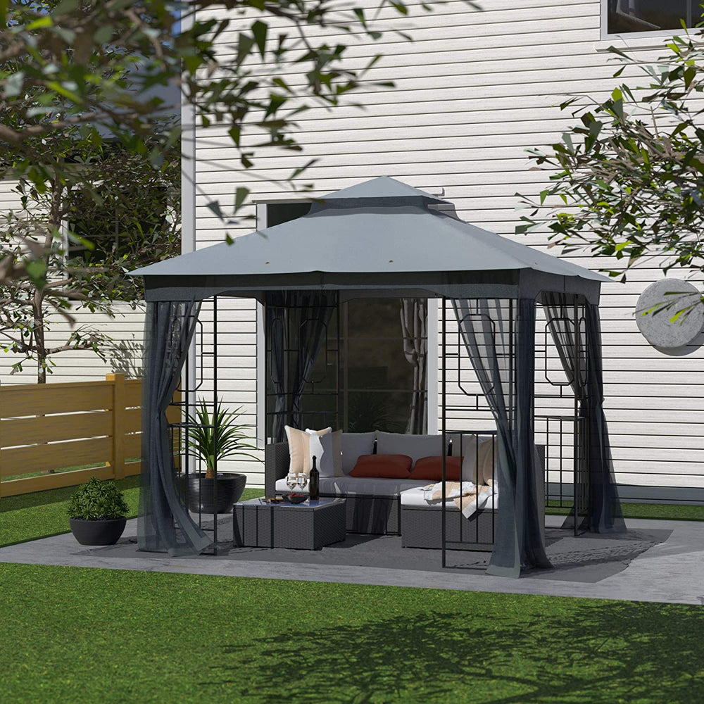 Cloud Mountain Garden Gazebo Polyester Fabric 10' x 10' Patio Backyard Double Roof Vented Gazebo Canopy with Mosquito Netting, Dark Gray