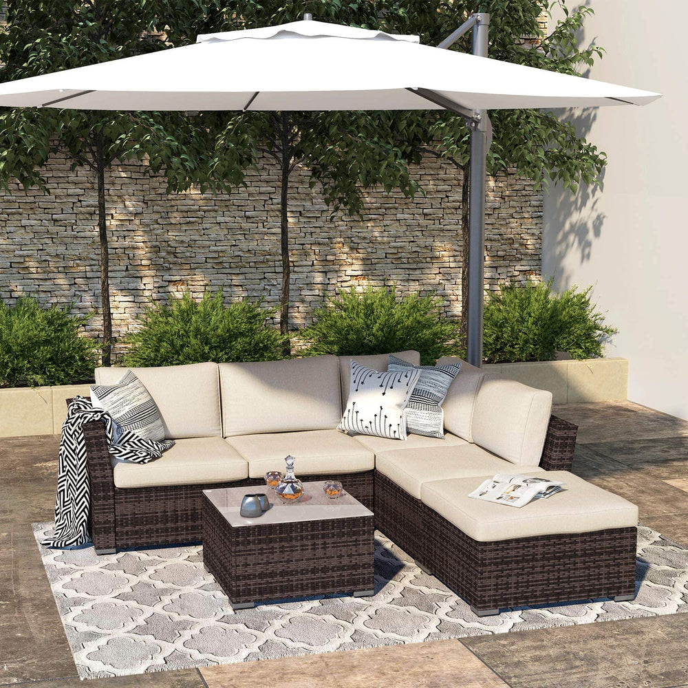 Cloud Mountain Outdoor Sectional Sofa 5-Piece Patio Furniture All Weather Wicker Sectional Furniture Couch Set with Glass Coffee Table, Brown Waterproof Cover and Clips for Lawn, Backyard, Porch, Deck