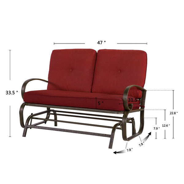 Outdoor Glider Rocking Chair Garden Patio Loveseat Furniture Swing Lounge Couch - cloudmountainproducts
