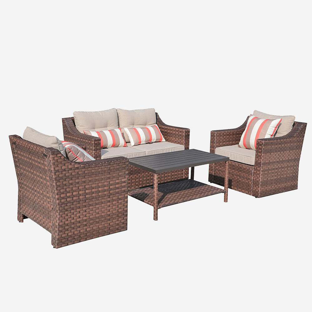 4 Piece Rattan Conversation Set with Cushions