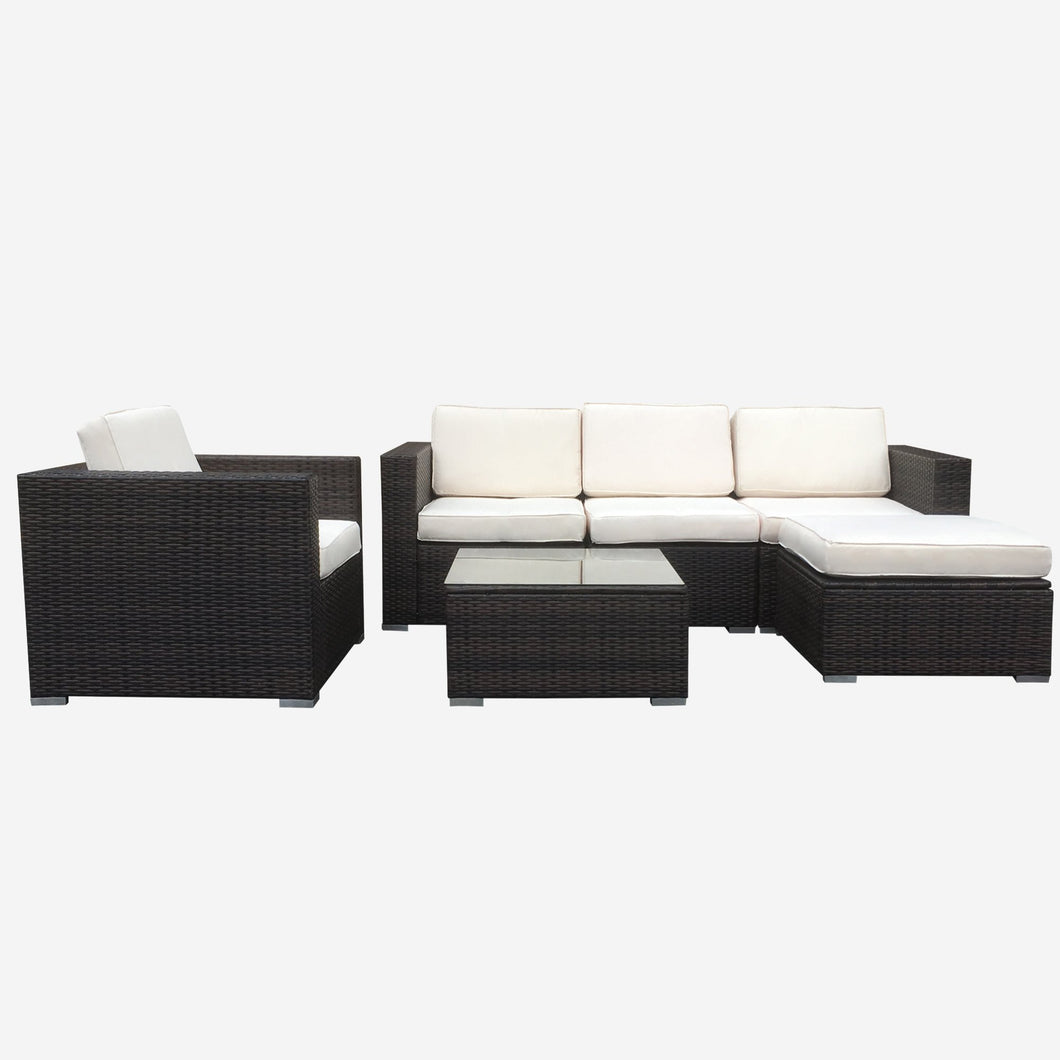 Sofa Seating Sectional Group with Beige Cushions, and Brown Wicker