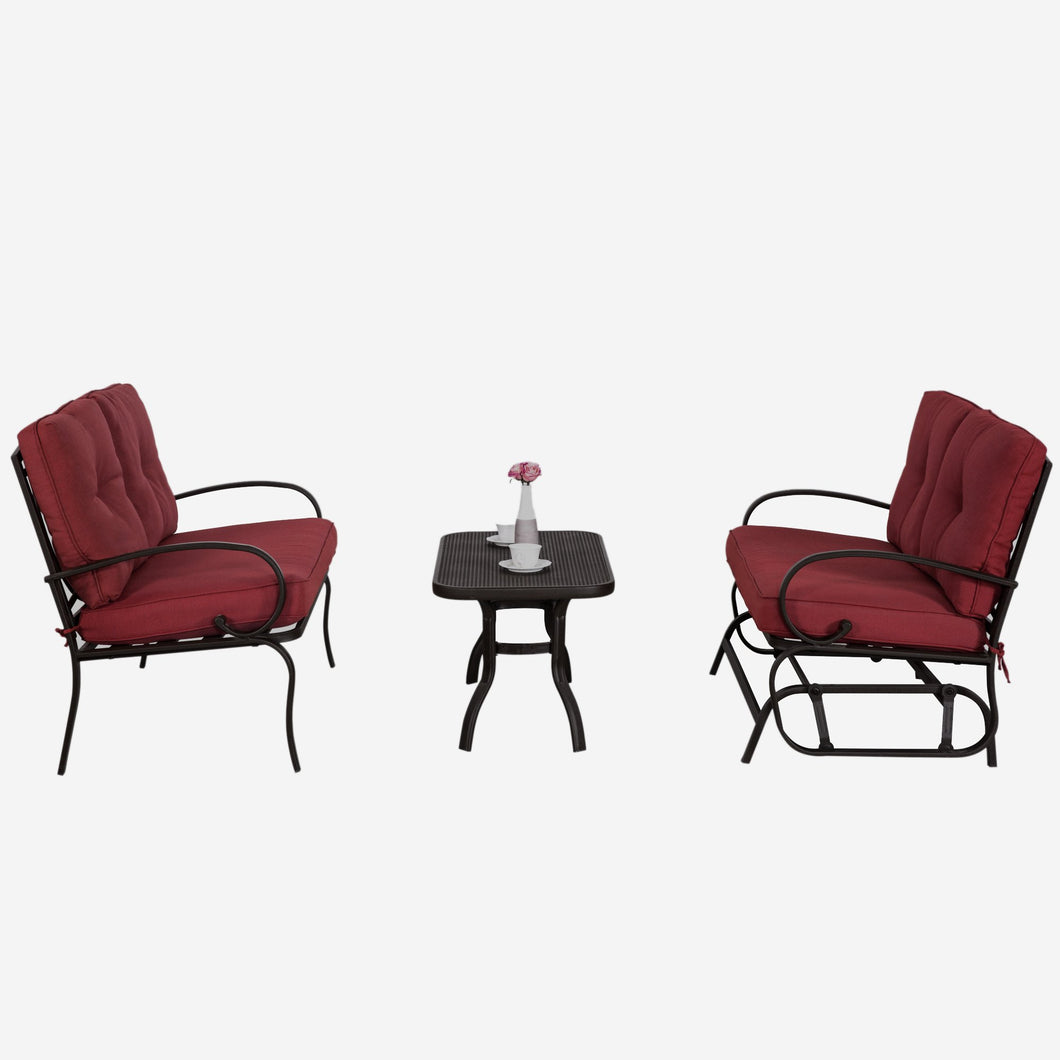 3 Piece Metal Conversation Set with Cushions