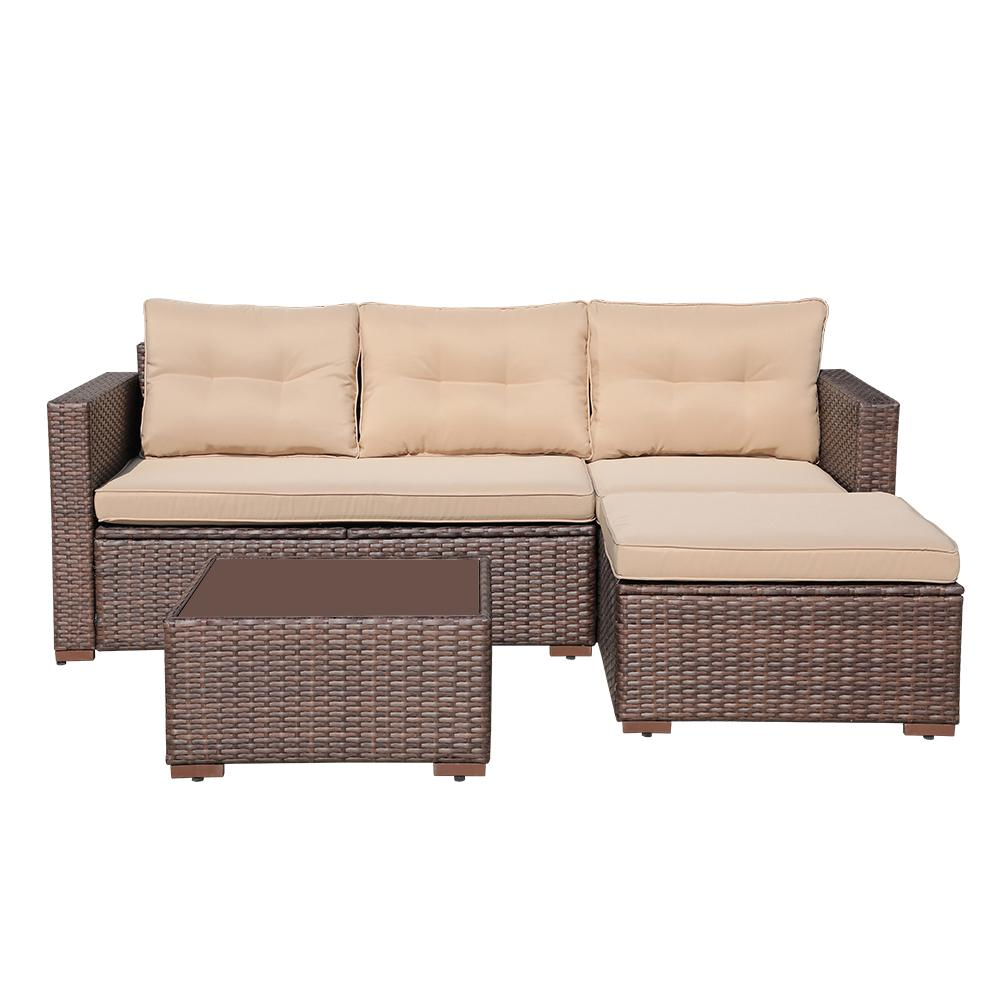 4 Piece Outdoor Sectional Sofa with Seat Cushions