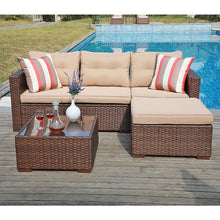 Load image into Gallery viewer, 4 Piece Outdoor Sectional Sofa with Seat Cushions