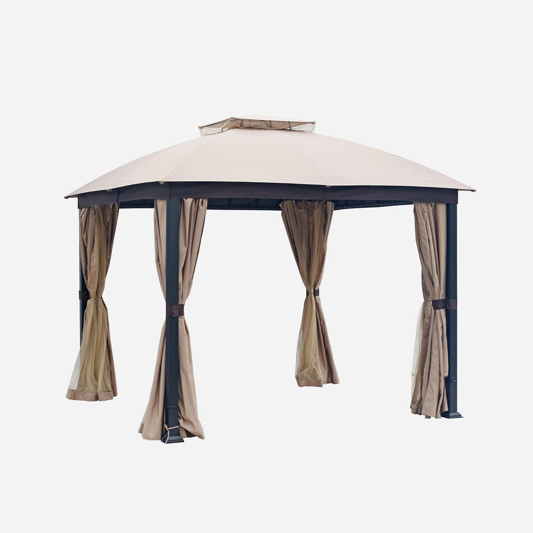 10 x 10 Steel Patio Gazebo with Mosquito Netting Soft Top, Beige