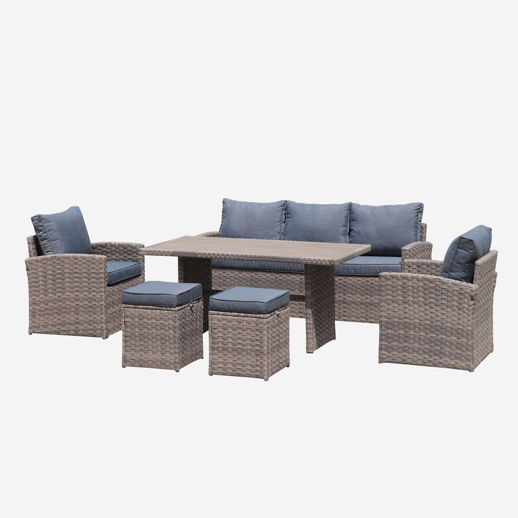 6-Piece Wicker Outdoor Dining Table Set