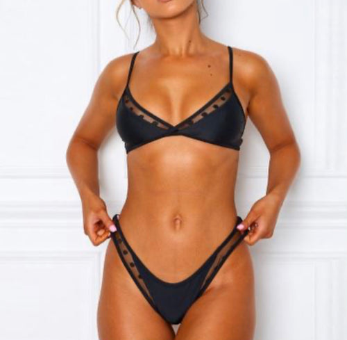 Spotted Mesh Two-Piece Swim
