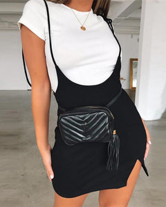 Spaghetti Strap Tied Detail Slit Skirt