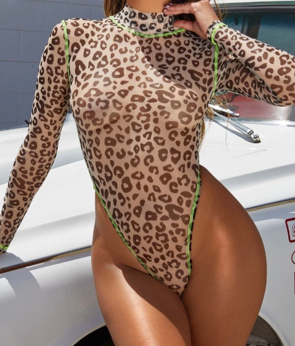 Sheer Leopard Print Body Suit