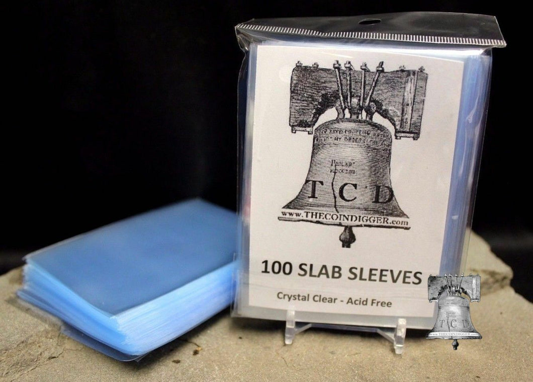 100 TCD Coin Slab Resealable Sleeves NGC PCGS Everslab Protective Sleeve Slabs