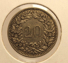 Load image into Gallery viewer, 1898 B Switzerland 20 Rappen Key Date Coin with Holder  thecoindigger Display