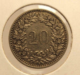 1898 B Switzerland 20 Rappen Key Date Coin with Holder  thecoindigger Display