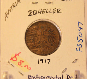 1917 Austria 20 Heller Coin and Holder Display  Thecoindigger World Coin Estates
